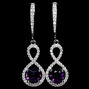 Striking Genuine Purple Amethyst Drop Ea