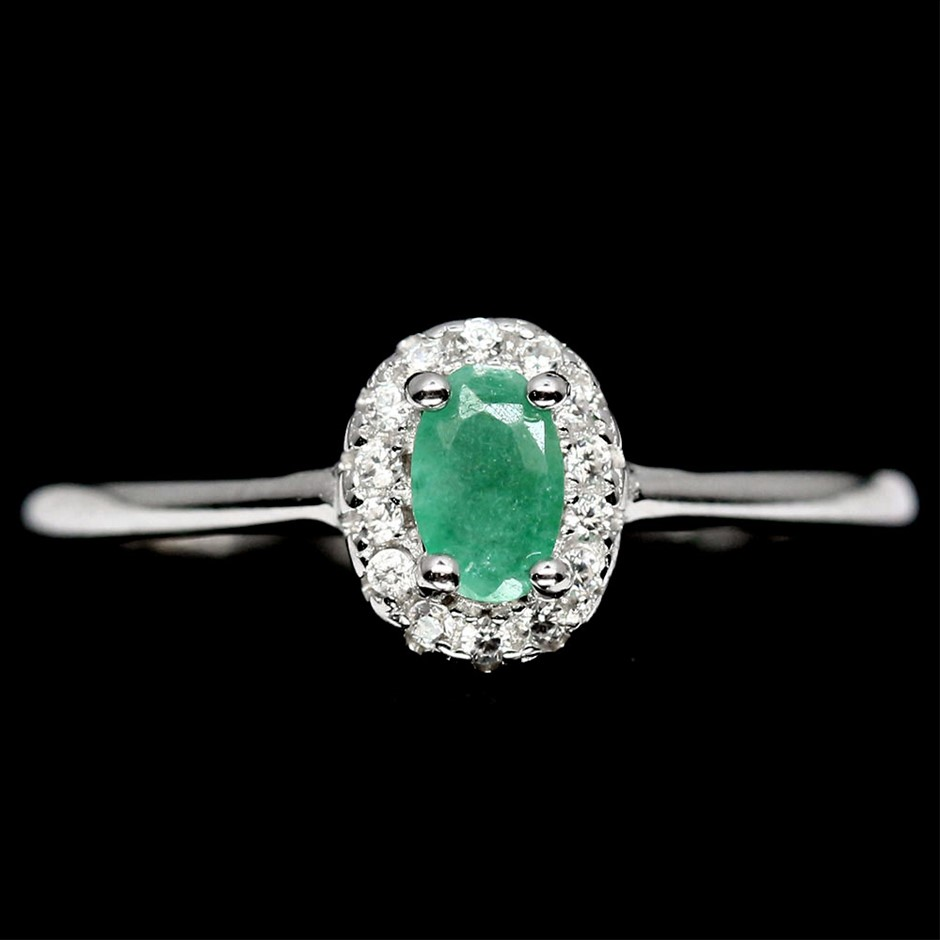 Delightful Genuine Emerald Solitaire Ring