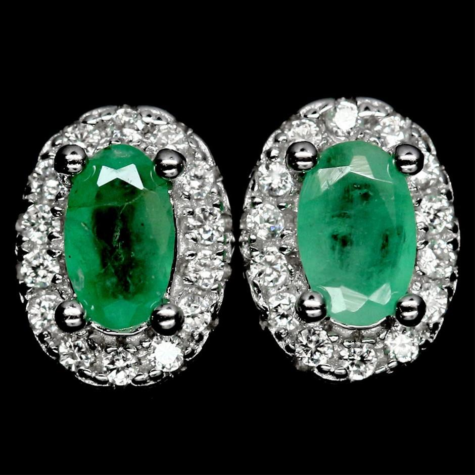 Genuine Emerald Stud Earrings