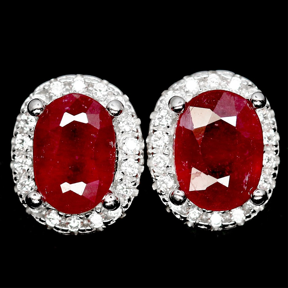Striking Genuine Blood Red Ruby Stud Earrings.