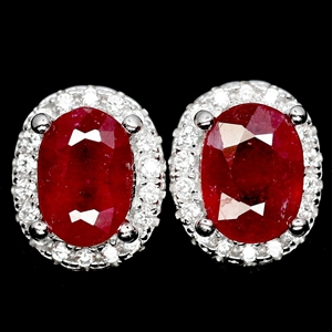 Striking Genuine Blood Red Ruby Stud Ear
