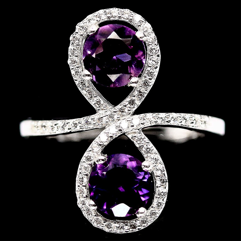 Striking Genuine Purple Amethyst Ring.
