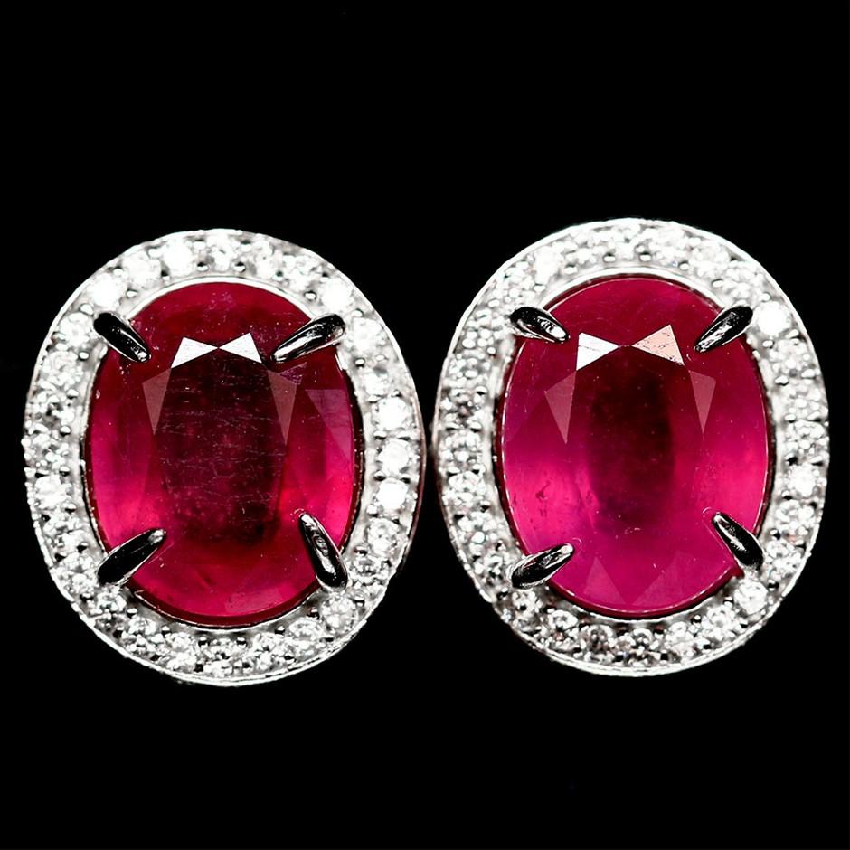 Striking Genuine Pinkish Red Ruby Stud Earrings