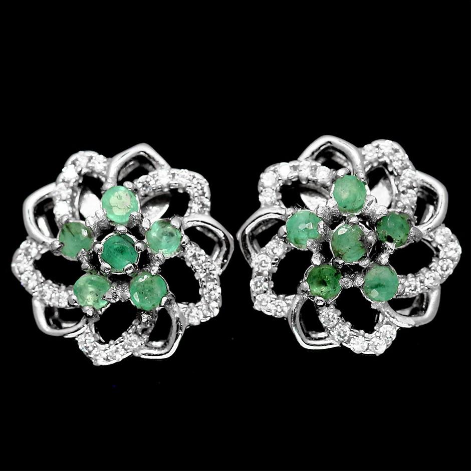 Genuine Emerald Stud Earrings.