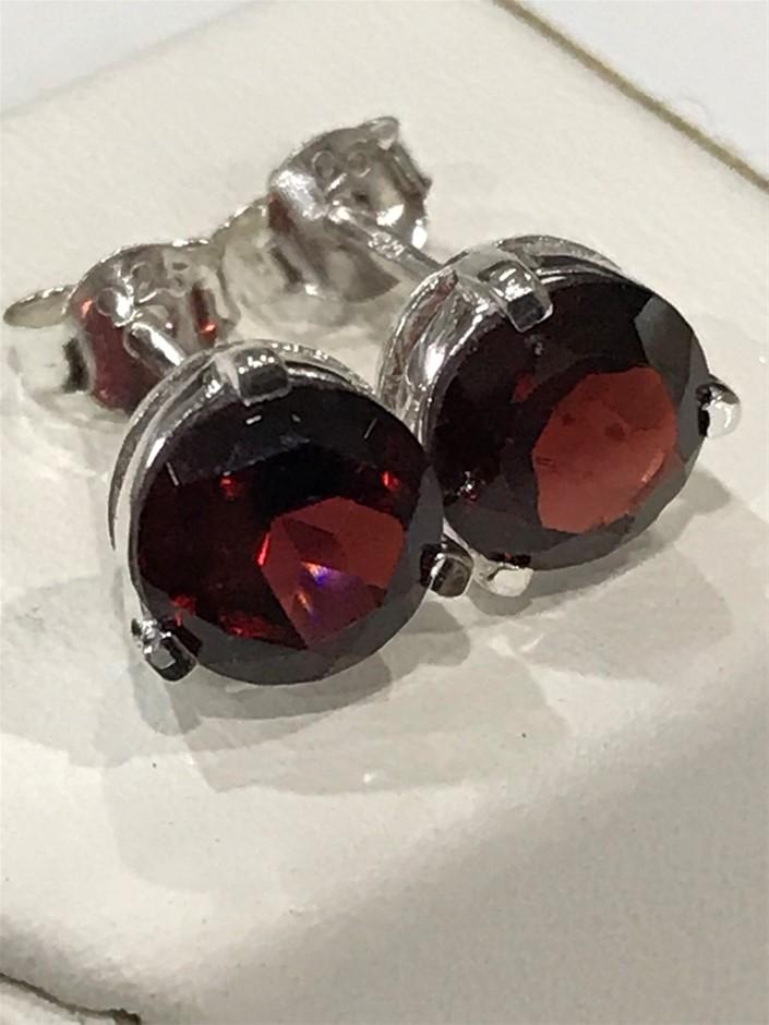 Stunning Genuine 3.20ct Garnet Stud Earrings