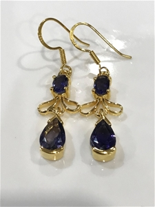 Genuine Iolite & 18K Gold Vermeil Drop E