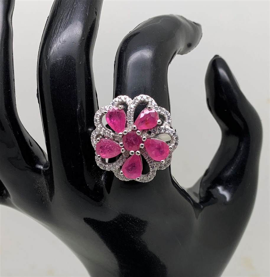 Lovely Pink Ruby Ring. Size 'P'