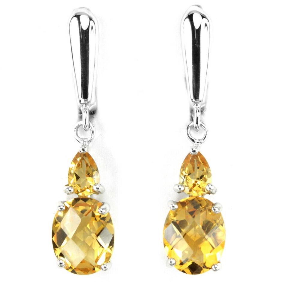 Adorable Orangish Yellow Citrine Drop Earrings.