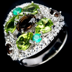 Smoky Quartz Green Peridot & Agate Ring.