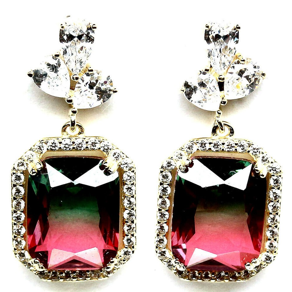 Gorgeous Emerald Cut Watermelon Cubic Zirconia Earrings.