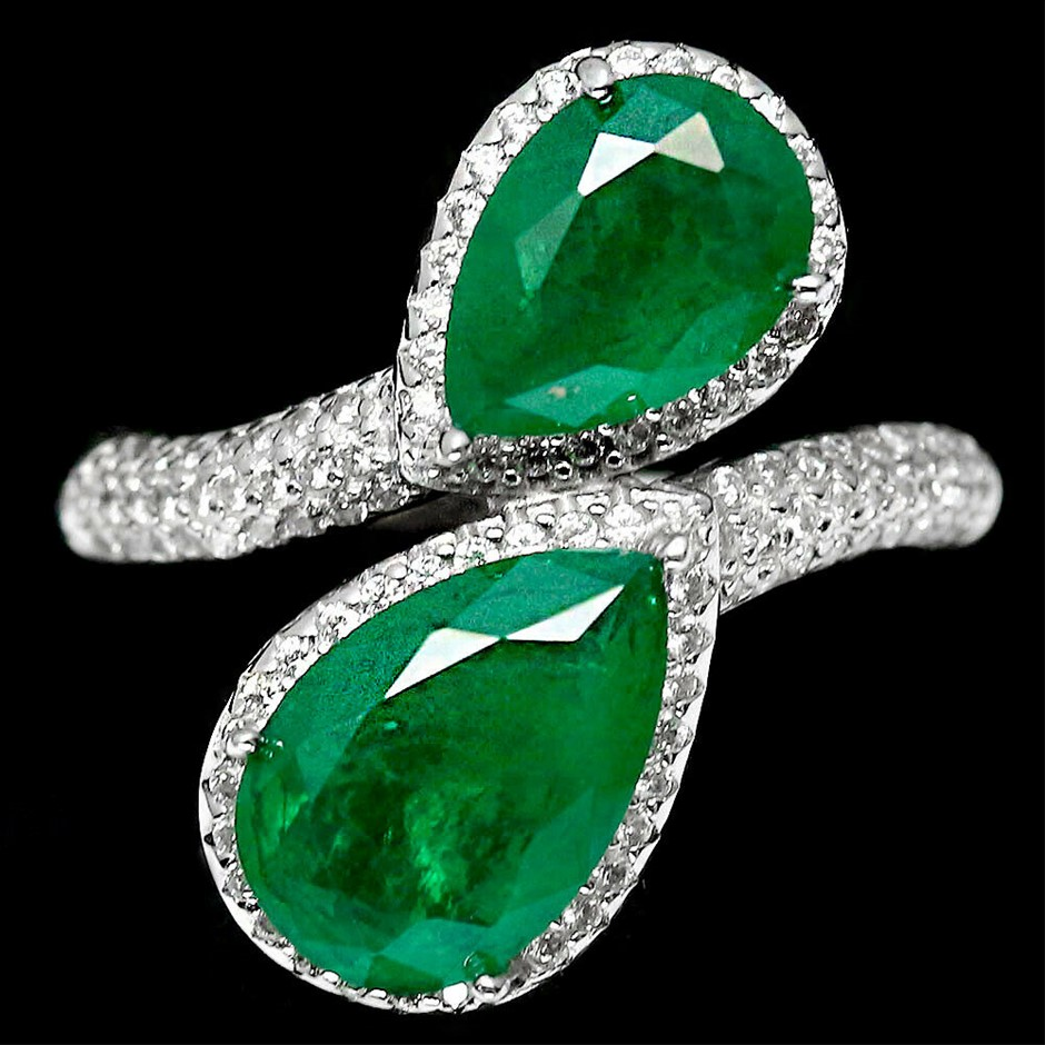 Pear Cut Forest Green Doublet Emerald Ring. Size 'P'