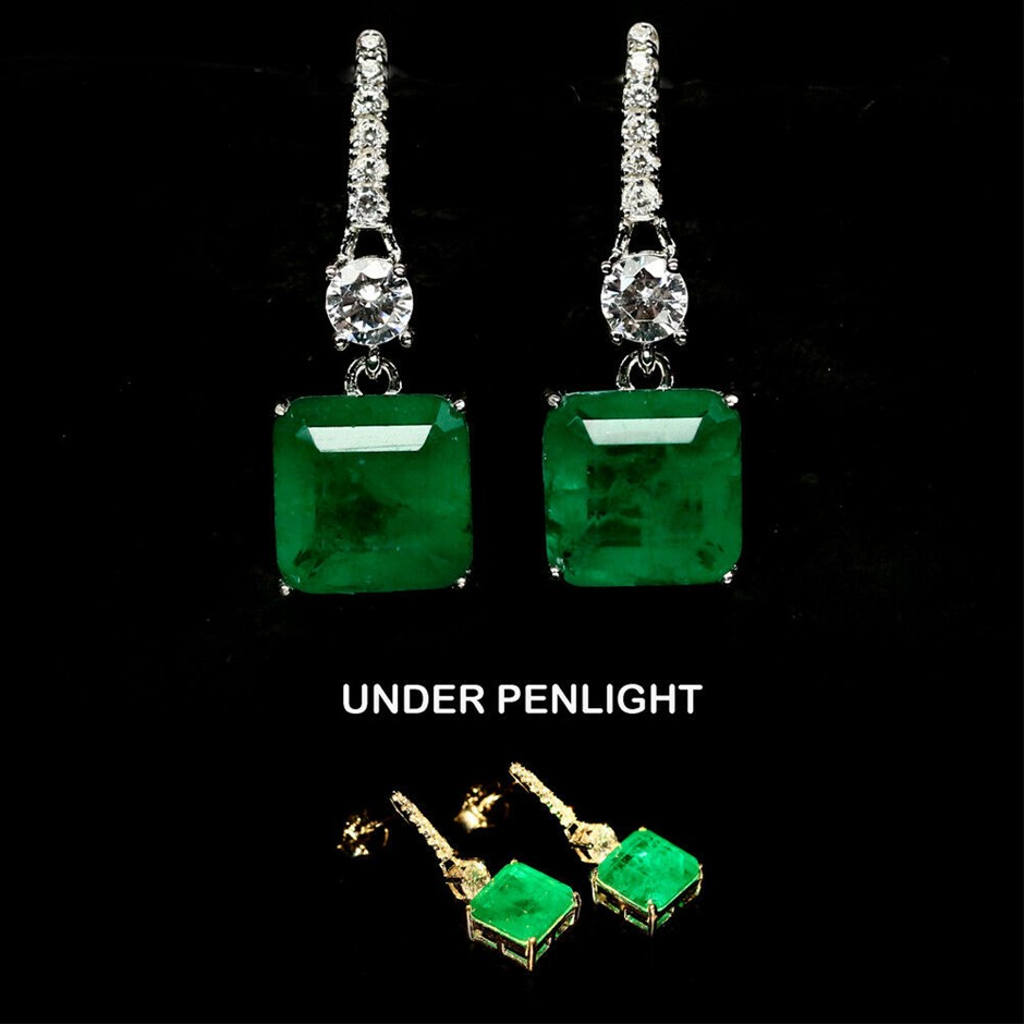 Wonderful Square Cut Forest Green Doublet Emerald Earrings.