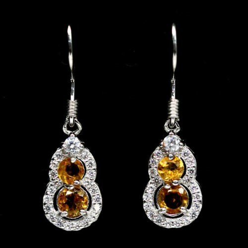 Lovely Round Shape Golden Yellow Citrine Earrings.