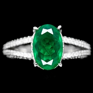 Forest Green Doublet Emerald Ring. Size