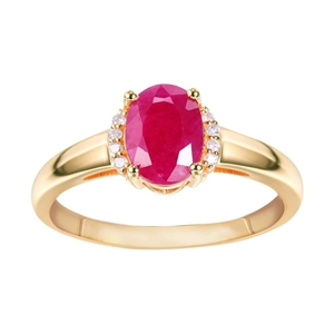 9ct Yellow Gold, 1.42ct Ruby and Diamond