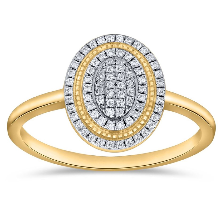 9ct Yellow Gold, 0.12ct Diamond Ring