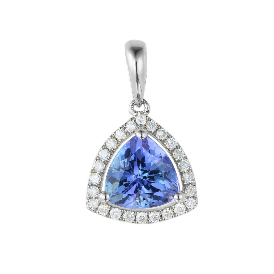 9ct White Gold, 1.29ct Tanzanite and Diamond Pendant
