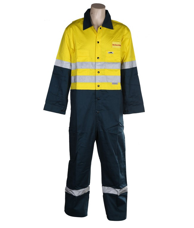 2 x B-SAFE Cotton Drill Overalls, Size 102R, 3M Reflective Tape, Yellow/Gre