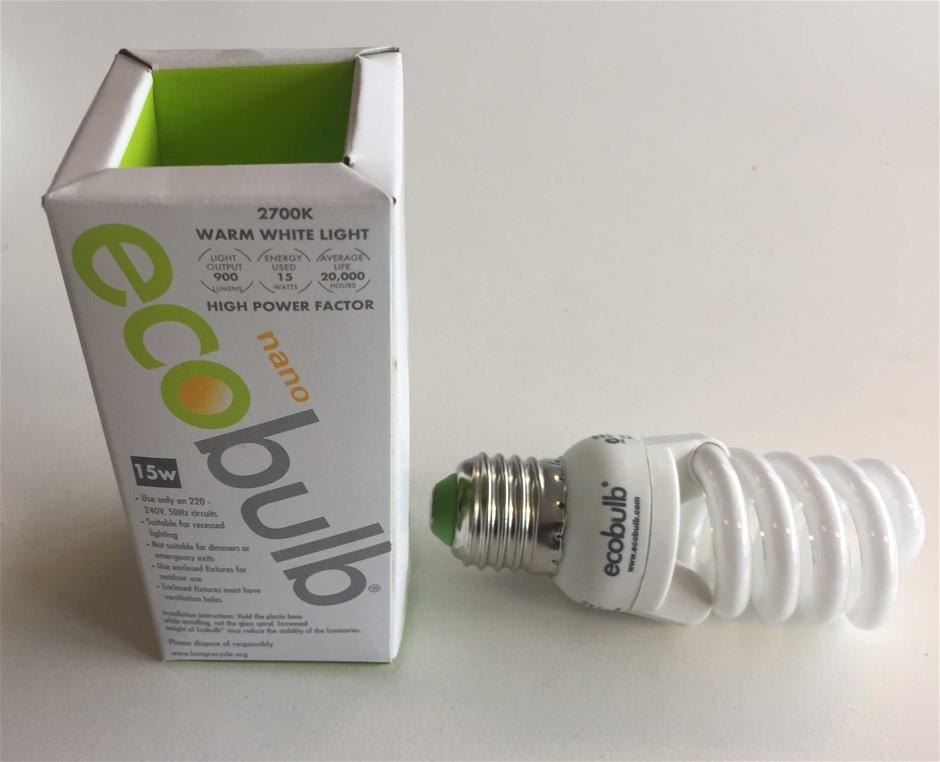 (50 Pack) Ecoglobe 15W E27 2700K Screw Fitting Spiral (Warm White)