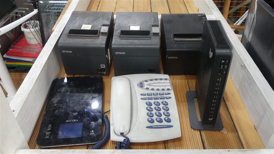 Docket Printers, Wireless Router, Kitchen Scales, & Phone Handset