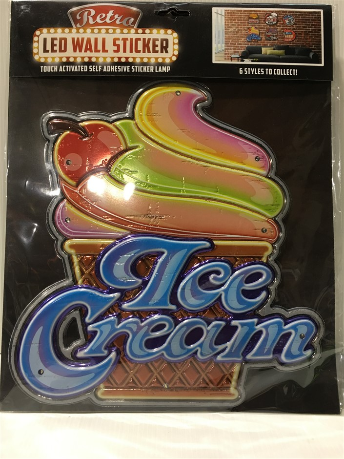 ICE CREAM - LED Wall Light Up Sticker Sign / Lamp