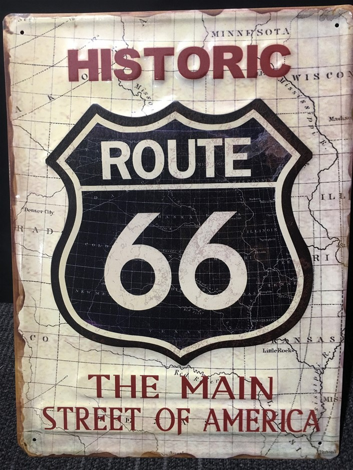 Route 66 Large Tin Sign - A3