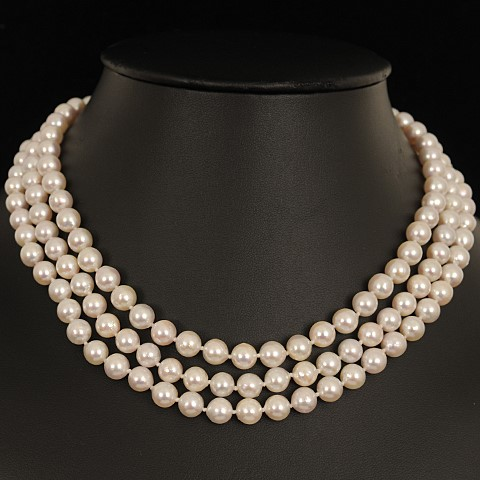 Triple Length Natural Akoya Pearl Uniform Necklace 7.0 - 7.5mm