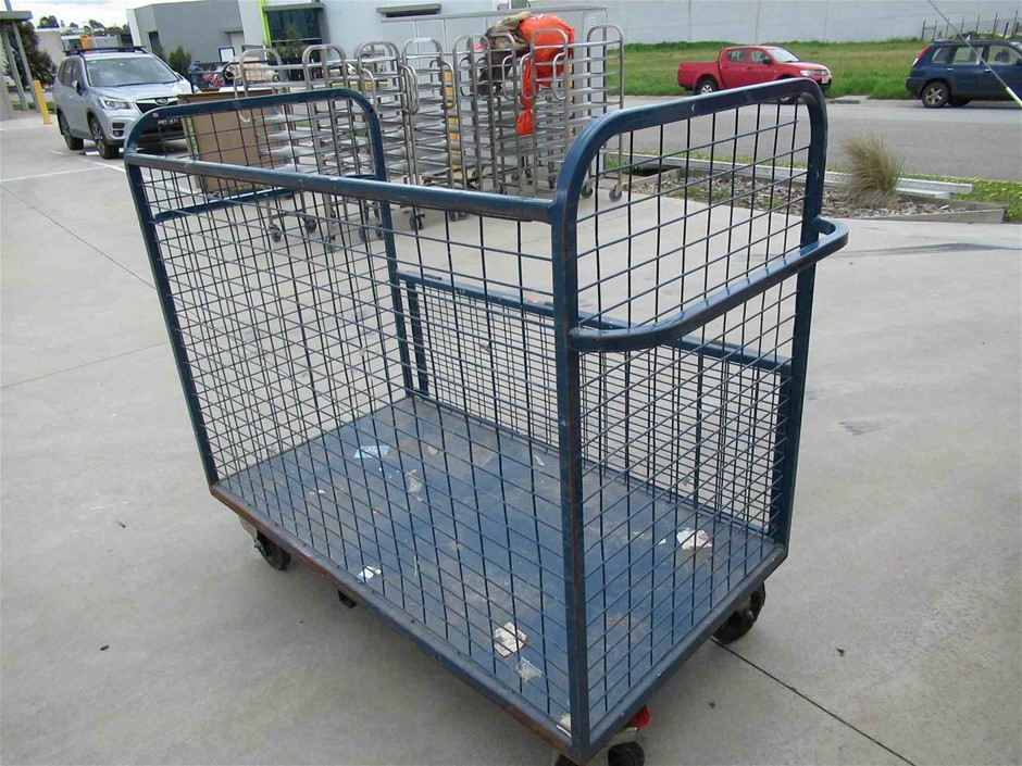 Steel Fabricated Mobile Mesh Cage Trolley
