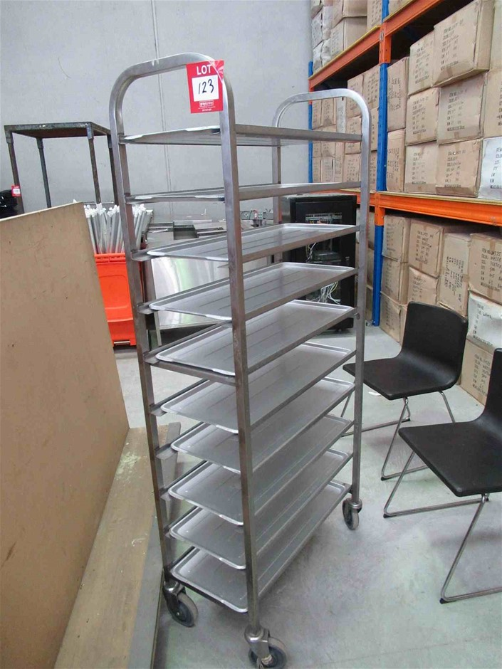 10 Tier Stainless Steel Frame Butchers Trolley