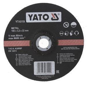 10 x YATO Metal Cutting Discs, 180x3.2x2