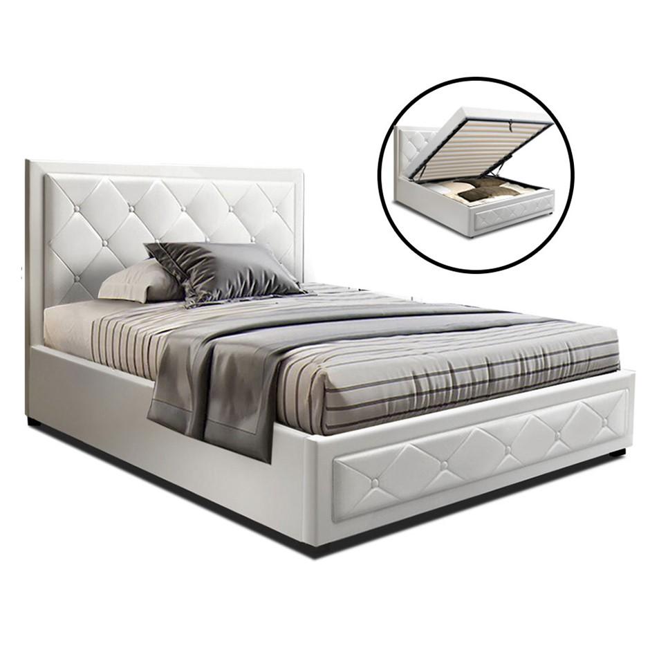 Artiss TIYO King Single Size Gas Lift Bed Frame Mattress White Leather