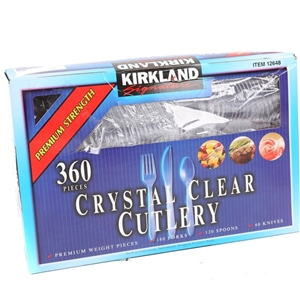 360pc Crystal Clear Cutlery Set, Compris