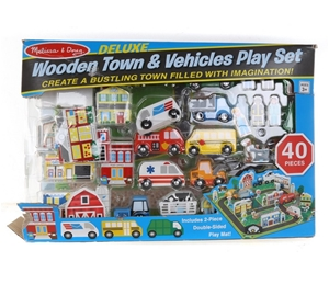 Wooden Town & Vehicle Play Set 40pcs, In