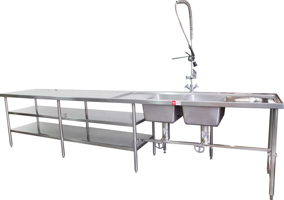 Stainless Steel Freestanding Double Bowl Sink with New Spray Rinser Arm Tap