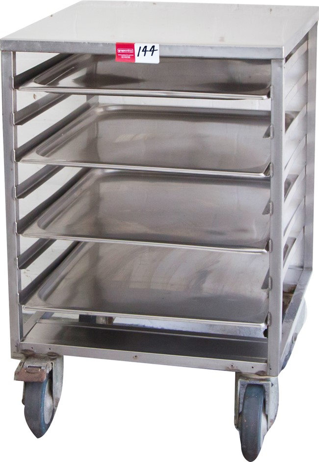 Stainless Steel Mobile Kitchen Bench with Trays Under