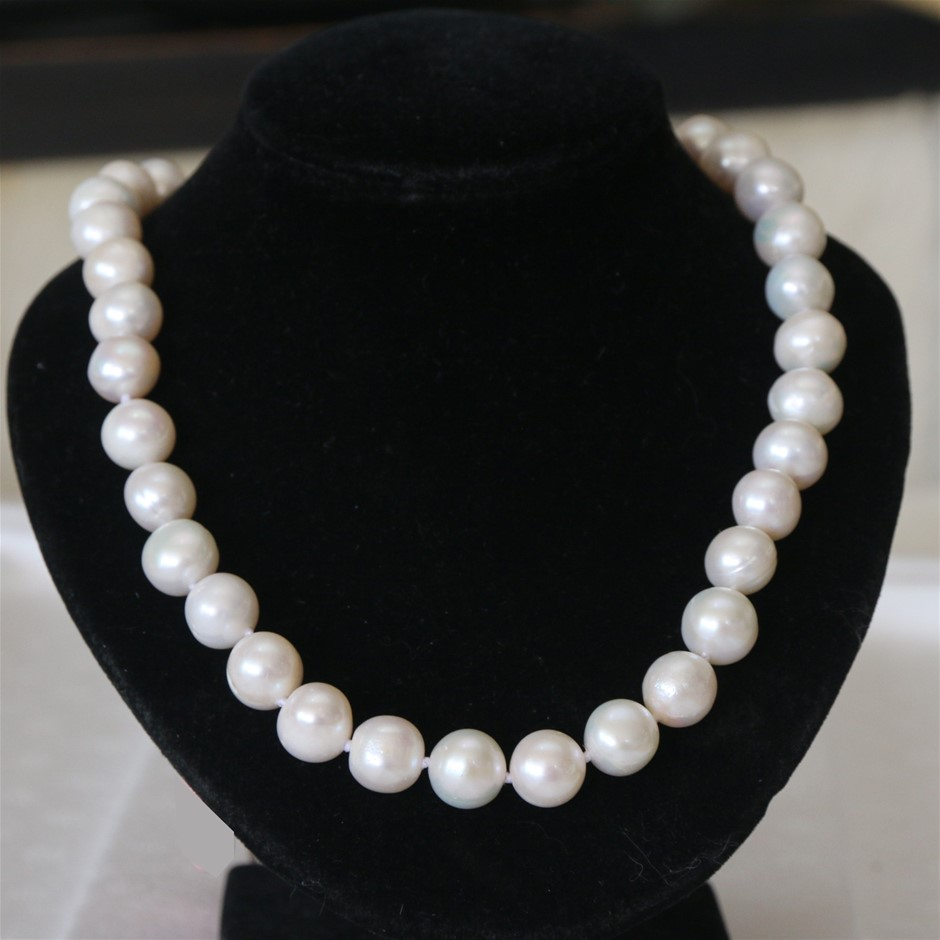 Beautiful Charming 11-12MM WHITE AKOYA PEARL NECKLACE 20 inches AAA+