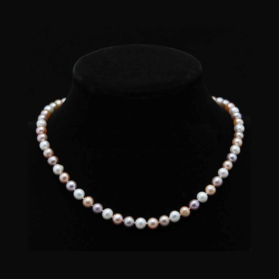 Genuine 7-8mm White & Pink & Purple Akoya Cultured Pearl Necklace 20""