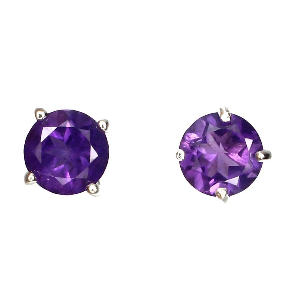 Delightful Genuine Purple Amethyst Stud Earrings.