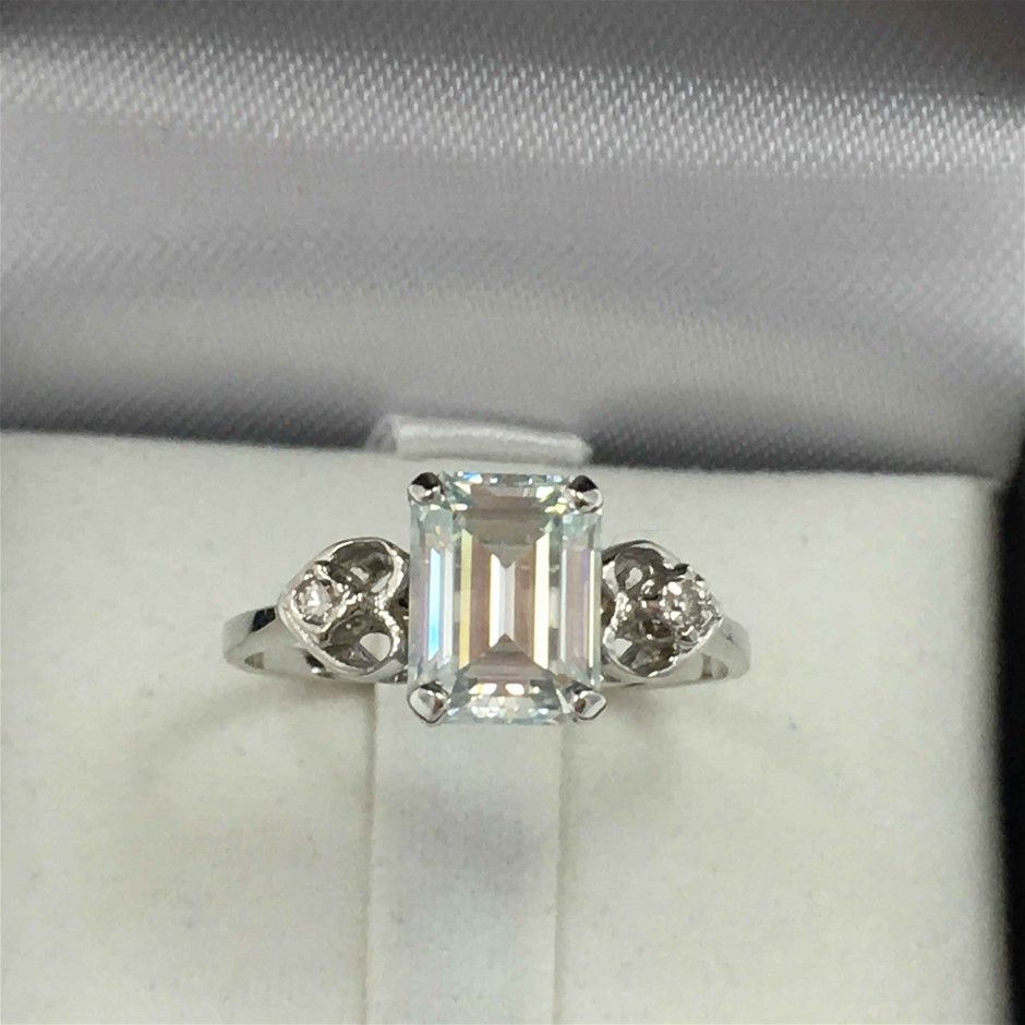 18ct White Gold, 1.78ct Emerald Cut Moissanite and Diamond Ring