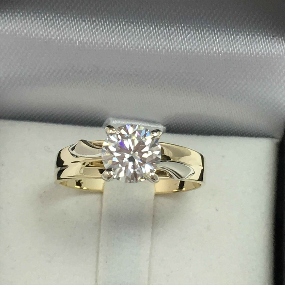 9ct Yellow and White Gold, 1.53ct Moissanite Ring