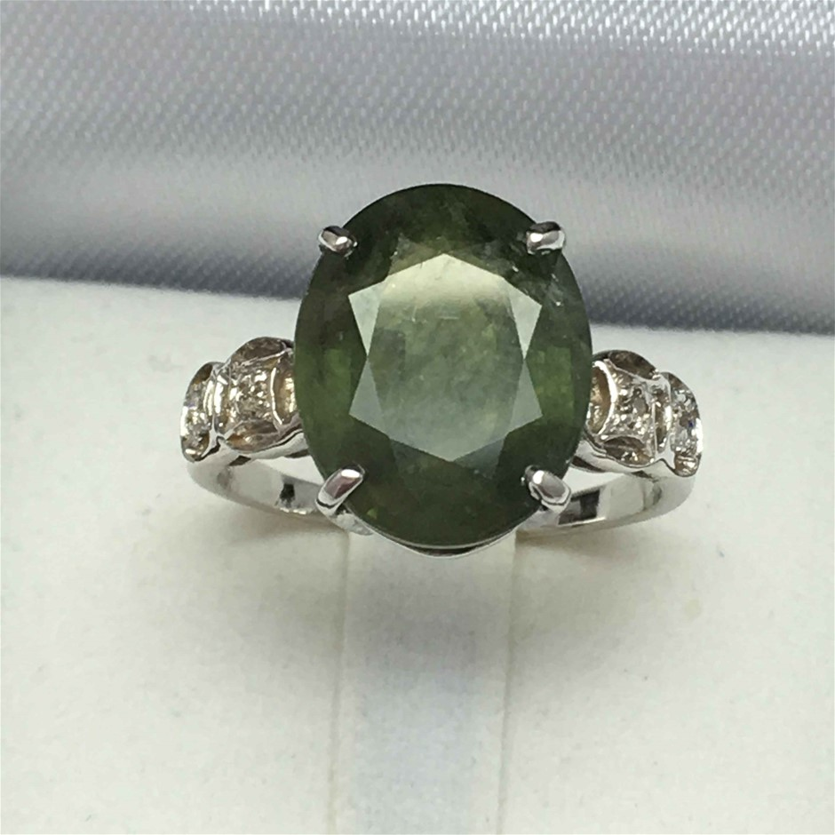 18ct White Gold, 8.45ct Green Sapphire and Diamond Ring