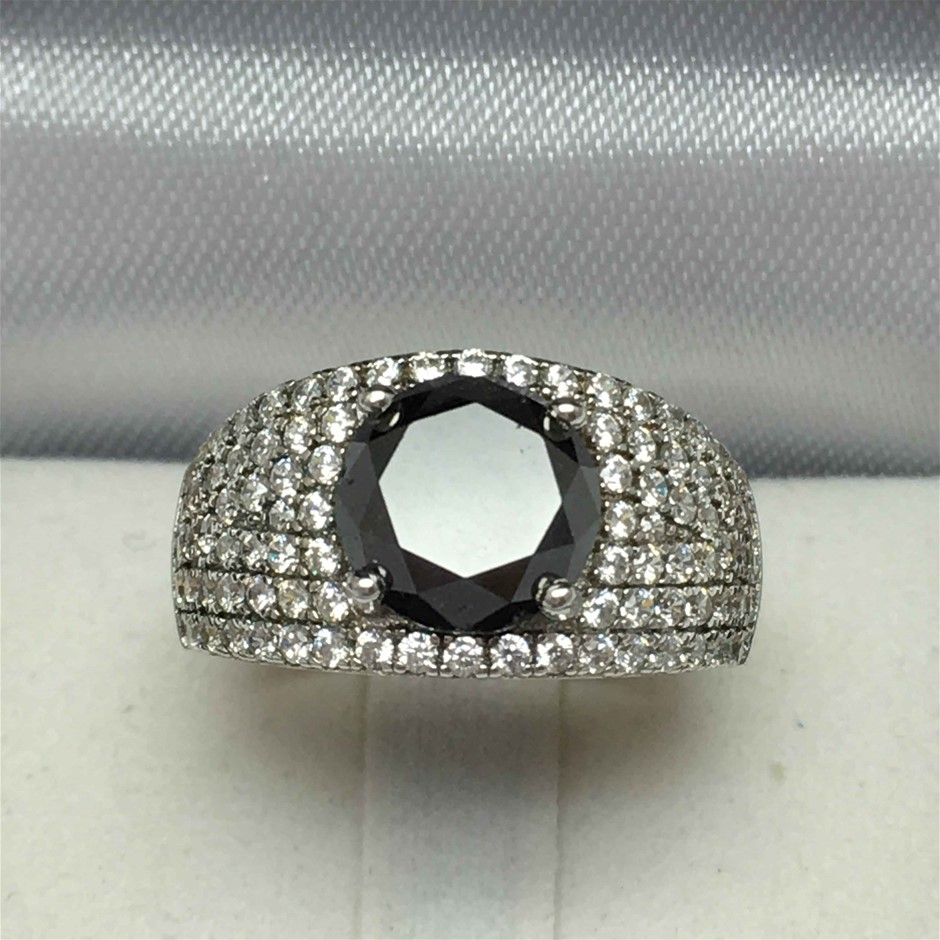 Ladies Sterling Silver, 3.47ct Diamond and Cubic Zirconia Ring