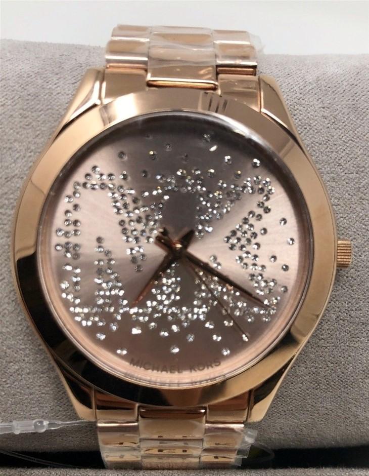 New Michael Kors 'Slim Runway' signature MK plated watch.