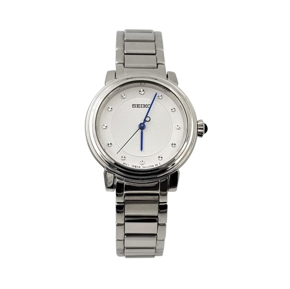Seiko Quartz Crystal Accent Silver Ladies Dress Watch
