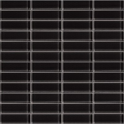 Cotto 06T-GL-7003 Black Glass Mosaic Tiles 22x73mm On Sheets, 4.6m², 75Kg