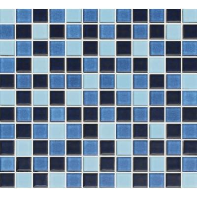 Cotto 1S-MBL-18 25x25mm Medium Blue Blend Pool Tiles, 100.44m², 1002Kg