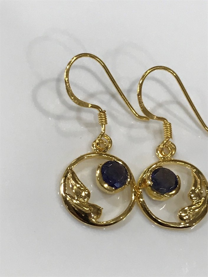 Eye Catching Iolite & 18K Gold Vermeil Earrings