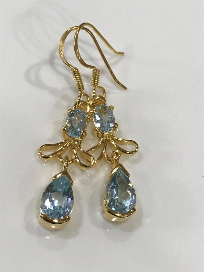Stunning Blue topaz & 18K Gold Vermeil Drop Earrings