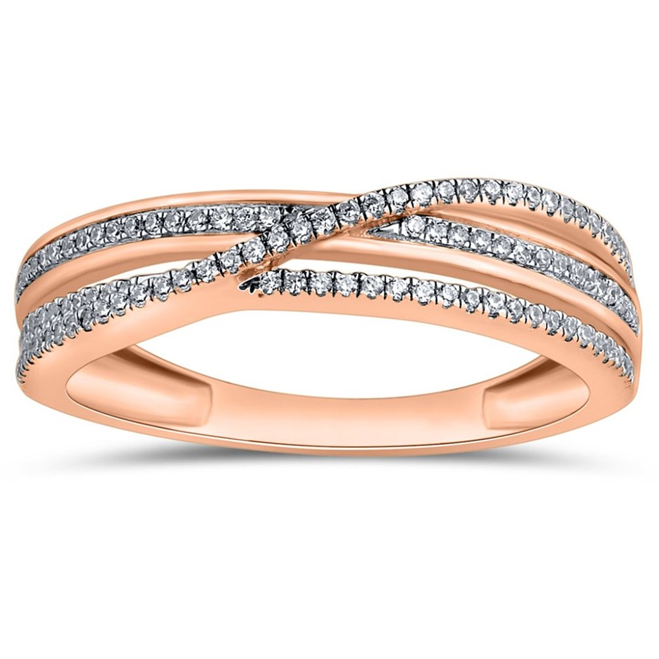 9ct Rose Gold, 0.16ct Diamond Ring