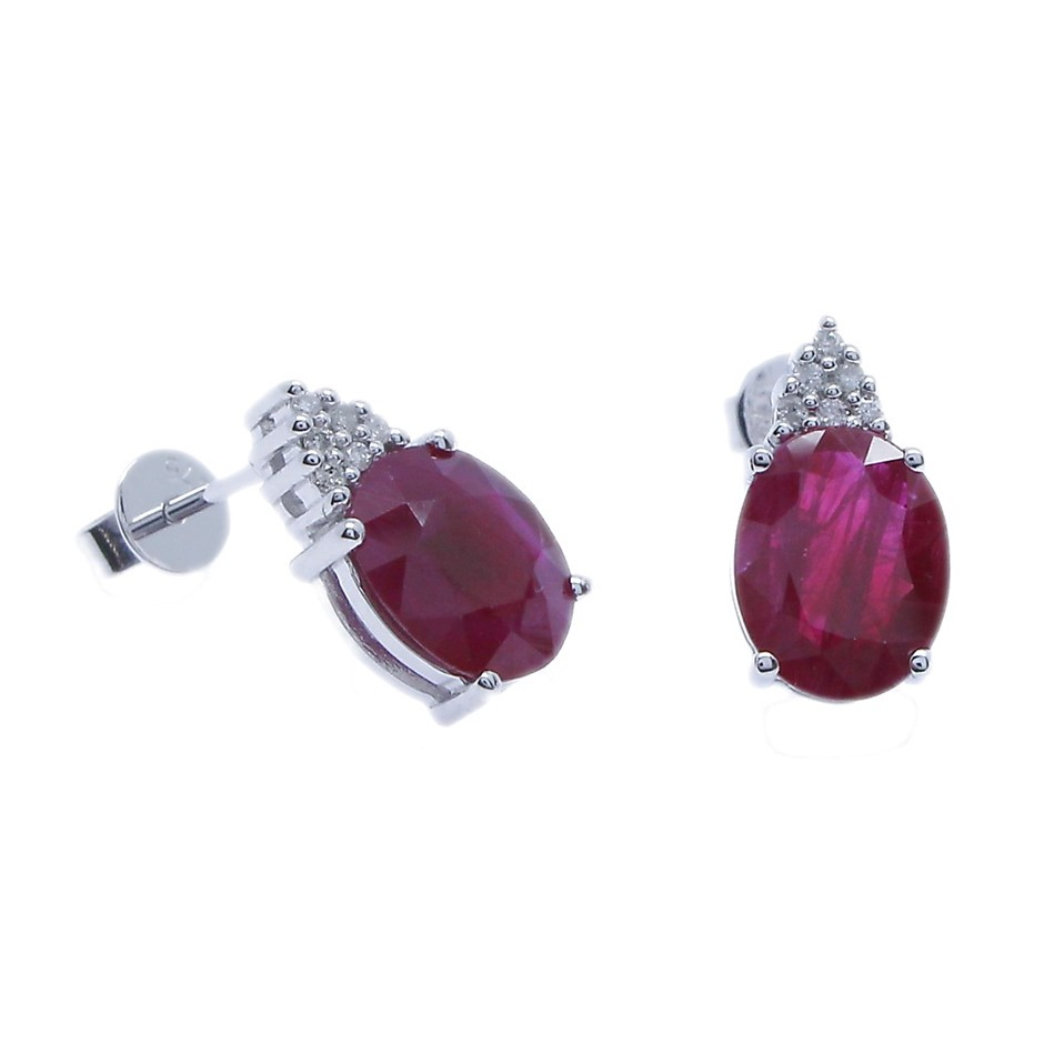 9ct White Gold, 4.19ct Ruby and Diamond Earring